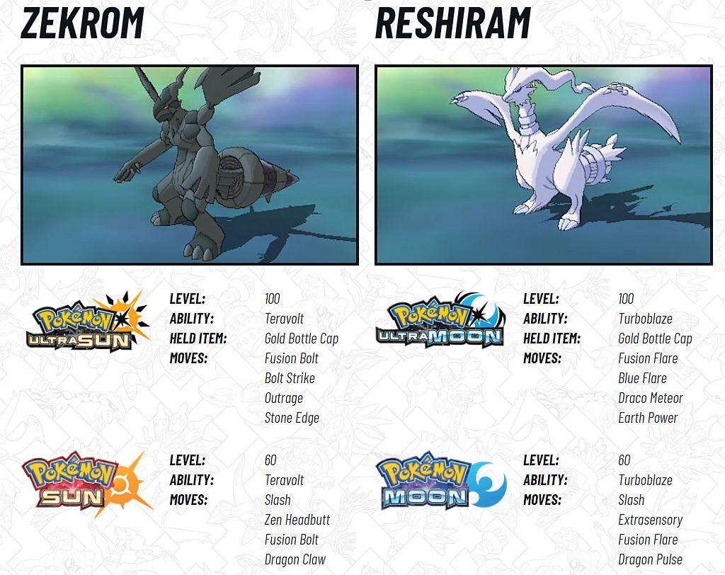 zekrom and reshiram pokemon sun and moon